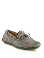 Aquatalia By Marvin K Blake Printed Leather Camo Driver Loafers Green