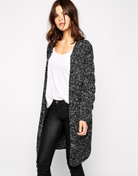 Y.A.S Maggie Long Cardigan With Cable Panel Blackandwhite