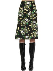Prada Printed Cotton Poplin Midi Skirt Black