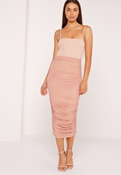 Missguided Ruched Side Faux Suede Midi Skirt Pink Pink