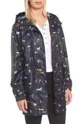 Joules Women's Right As Rain Packable Print Hooded Raincoat Navy Raining Dogs