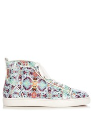 Christian Louboutin Louis Spike Python Pixelated High Top Trainers Multi