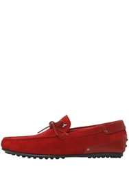 Tod's Ferrari City Gommino Suede Loafers Red