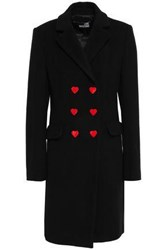 Love Moschino Woman Double Breasted Wool Blend Felt Coat Black