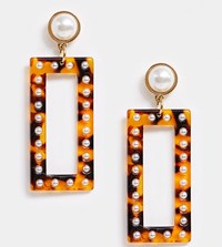 Reclaimed Vintage Inspired Statement Earring In Tort With Pearl Brown