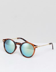 Asos Round Sunglasses With Metal Arms And Flash Lens Brown