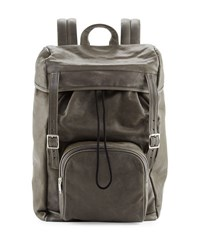 Saint Laurent Calf Leather Hunting Backpack Gray Grey