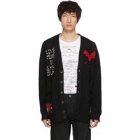 Valentino Black Cable Knit Video Game Cardigan