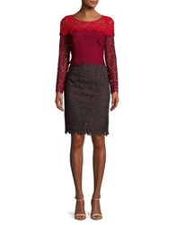 Nue By Shani Floral Lace Sheath Dress Red Wine
