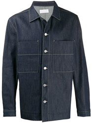 Haikure Patch Pocket Denim Jacket Blue