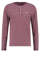 Abercrombie And Fitch Muscle Fit Long Sleeved Top Burgundy Stripe Bordeaux