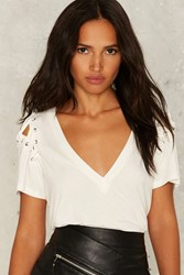 Nasty Gal Forward Pass Lace Up Tee White