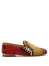 Artemis Design Shoes Patterned Woven Kilim And Leather Loafers Multi