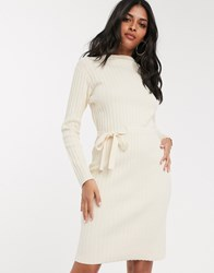 Fashion Union Ribbed Midi Dress With Tie Side Cream
