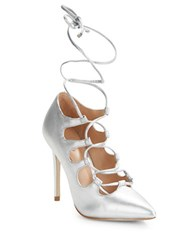 Brian Atwood Pavia Caged Pumps Silver