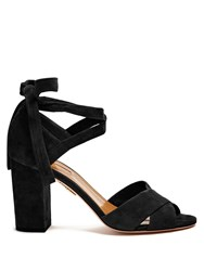 Aquazzura Tarzan Suede Block Heel Sandals Black