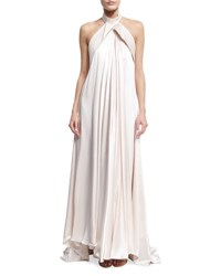 Brandon Maxwell Folded Bow Back Halter Gown Light Pink