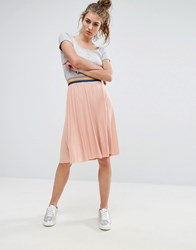 Noisy May Pleated Midi Skirt With Contrast Rib Dusty Coral Pink