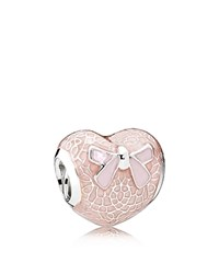 Pandora Design Charm Sterling Silver And Enamel Pink Bow Heart Moments Collection Pink Silver