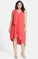 Plus Size Women's Adrianna Papell Sleeveless Asymmetrical Front Drape Crepe Shift Dress