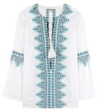 Talitha Noor Lace Up Embroidered Tunic White