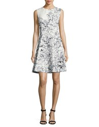 Karl Lagerfeld Floral Jacquard Fit And Flare Dress White Black