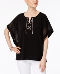 Jm Collection Chain Lace Up Poncho Only At Macy's Deep Black