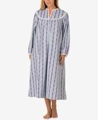 Lanz Of Salzburg Plus Size V Neck Flannel Nightgown Lilac Tryolean Print
