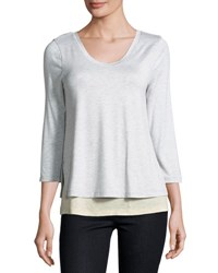 Neiman Marcus Double Layer 3 4 Sleeve Tee Light Gray