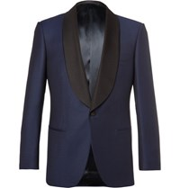 Kingsman Blue Slim Fit Faille Trimmed Wool Tuxedo Jacket Navy