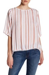Supplies By Unionbay Patsy Amsterdam Striped Elbow Length Sleeve Shirt Red