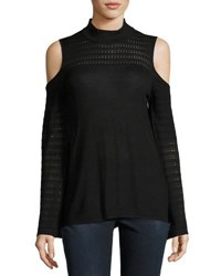 Neiman Marcus Mock Neck Cold Shoulder Knit Top Black