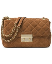 Michael Kors Large Sloan Suede And Chain Shoulder Bag Dark Caramel