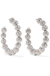 Tom Ford Oversized Silver Tone Crystal Hoop Earrings One Size