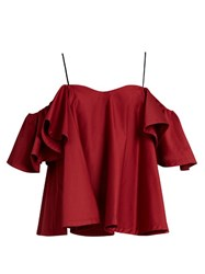 Anna October Cold Shoulder Ruffled Top Dark Red