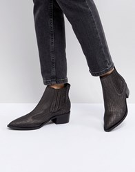 Selected Leather Embossed Chelsea Boot Black