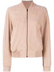Yves Salomon Meteo By Perforated Bomber Jacket Women Goat Suede 40 Nude Neutrals