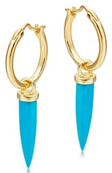 Missoma Mini Dagger Hoop Earrings Turquoise Gold