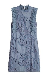 See By Chloe Crochet Embroidered Denim Dress Blue