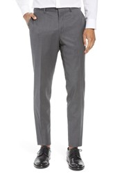 Nordstrom Shop Flat Front Tech Smart Extra Trim Trousers Charcoal