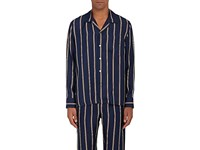 Sleepy Jones Men's Henry Silk Pajama Top Navy