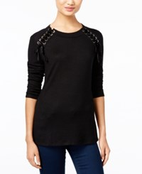 Inc International Concepts Petite Lace Up Sweater Only At Macy's Deep Black