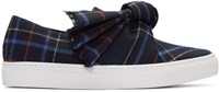 Cedric Charlier Navy Plaid Bow Slip On Sneakers