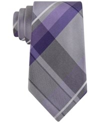 Geoffrey Beene Men's Far And Wide Classic Plaid Tie Purple