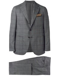 Caruso Checked Wool Suit Grey