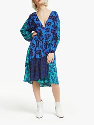 And Or Nadia Floral Patchwork Wrap Dress Blue Mix