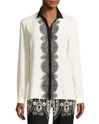 Etro Paisley Lace Trim Silk Blouse White White Pattern