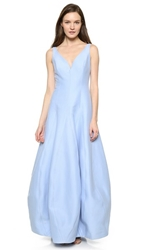 Halston Sleeveless Structured Gown Chambray
