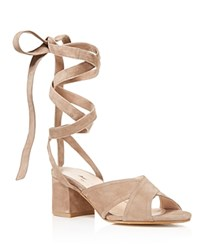 Charles David Blossom Lace Up Mid Heel Sandals Truffle