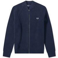 Fred Perry Bomber Neck Zip Cardigan Blue